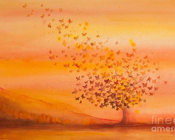Butterfly Poster featuring the painting Soul Freedom Watercolor Painting by Michelle Wiarda-Constantine