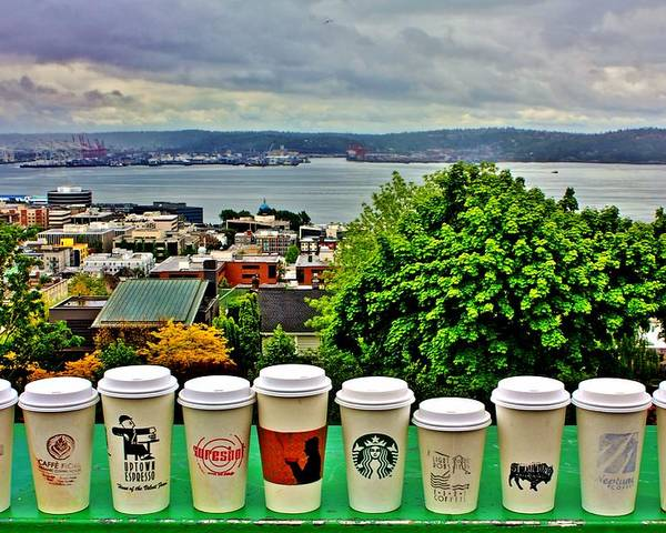 Seattle Poster featuring the photograph Sound Coffees by Benjamin Yeager