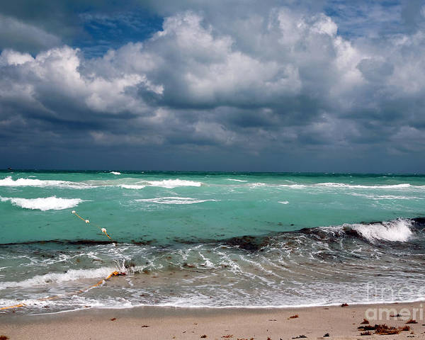 South Beach Storm Clouds Poster featuring the photograph South Beach Storm Clouds by John Rizzuto