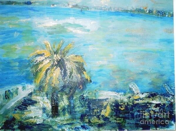 Seascape Poster featuring the painting South Of France  Juan Les Pins by Fereshteh Stoecklein
