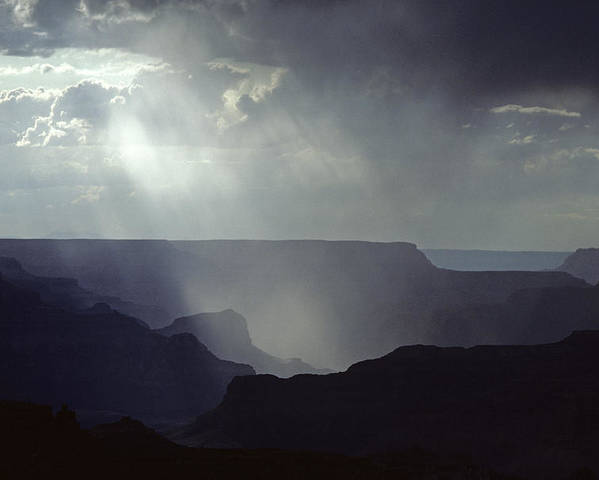 Grand Canyon National Park Poster featuring the photograph South Rim Grand Canyon Storm Clouds And Light On Rock Formations by Jim Corwin