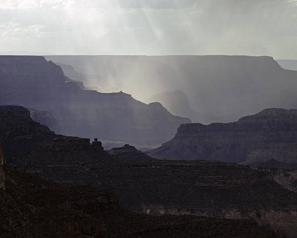 Grand Canyon National Park Poster featuring the photograph South Rim Grand Canyon Storm Clouds And Sunray Light On Rock For by Jim Corwin