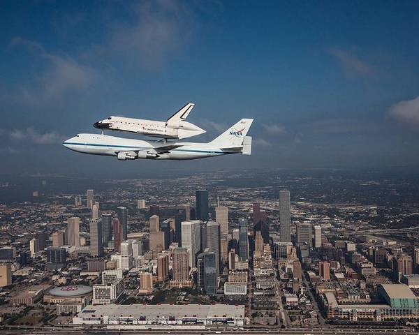 Space Shuttle Poster featuring the photograph Space Shuttle Endeavour Over Houston Texas by Movie Poster Prints