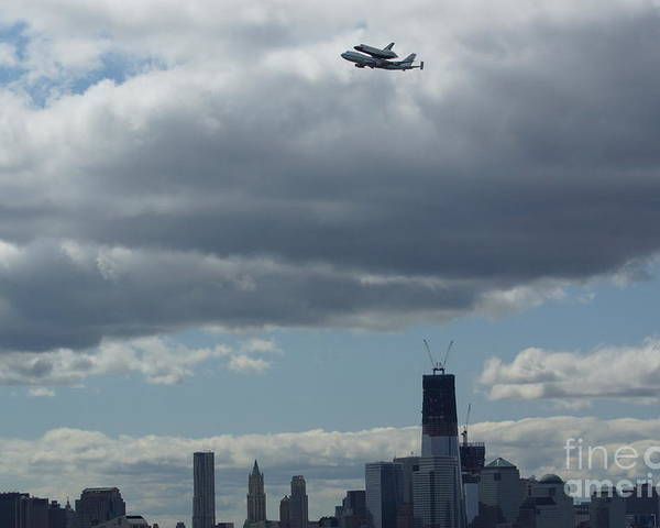 Space Poster featuring the digital art Space Shuttle Enterprise Flys Over Nyc by Steven Spak