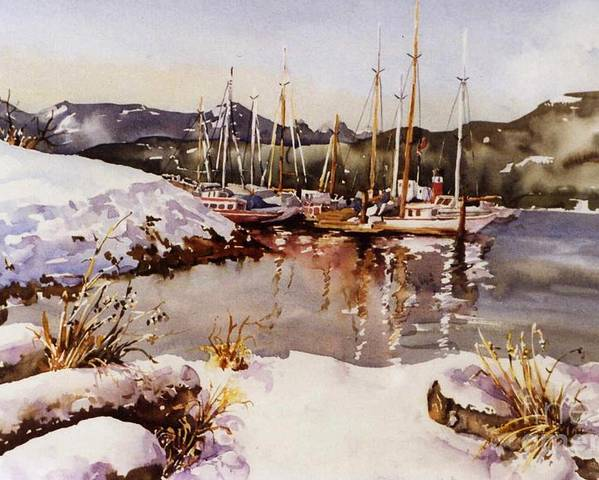 Landscape Poster featuring the painting Special Winter In Vancouver by Marta Styk