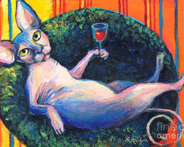 Sphynx Cat Poster featuring the painting Sphynx Cat Relaxing by Svetlana Novikova