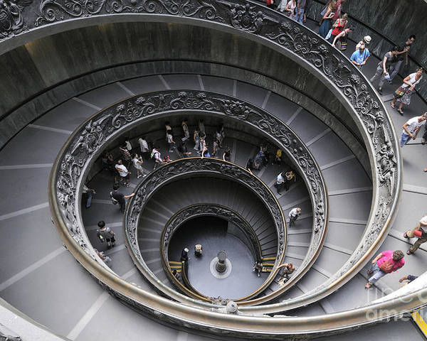 Museum Poster featuring the photograph Spiral Staircase By Giuseppe Momo At The Vatican Museum. Rome. Italy by Bernard Jaubert