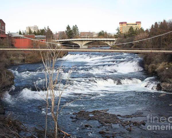 Spokane Falls Poster featuring the photograph Spokane Falls In Winter by Carol Groenen