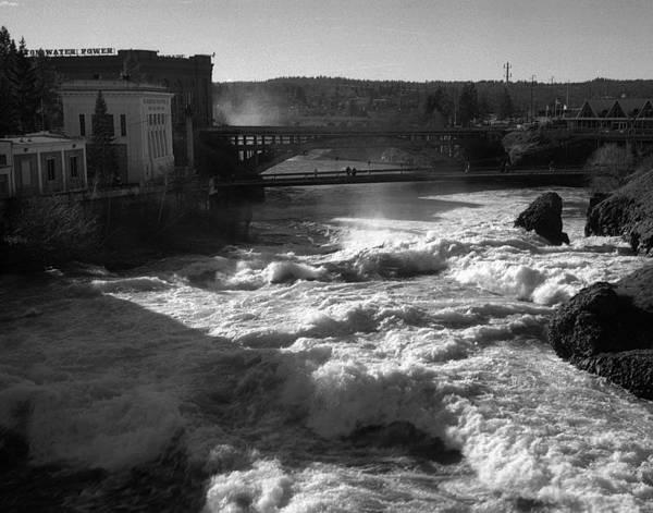 Spokane Falls Poster featuring the photograph Spokane Falls Spring Flow by Paul DeRocker