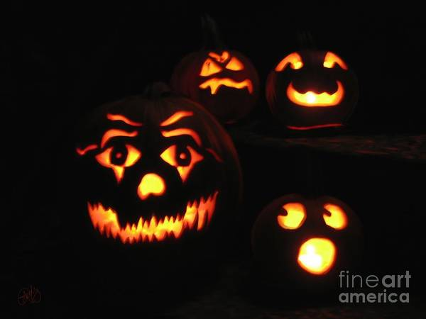 Jack-o-lanterns Poster featuring the digital art Spooky by Roxy Riou