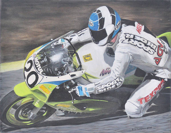 Motorcycle Poster featuring the painting Sport Rider by Denis Gloudeman
