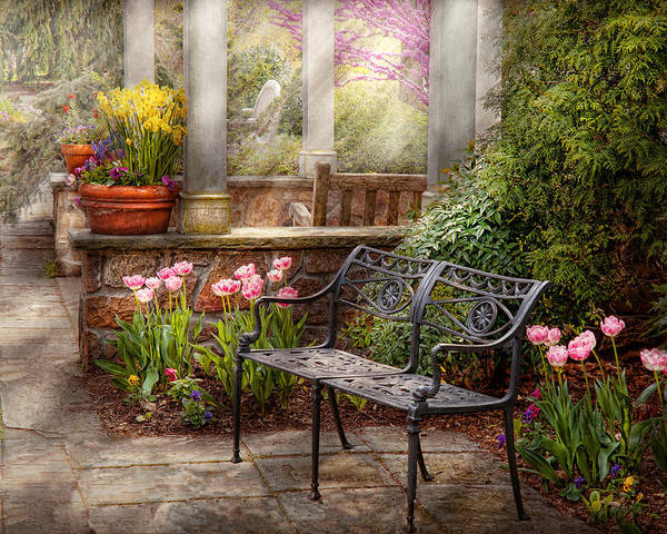 Spring Poster featuring the photograph Spring - Bench - A Place To Retire by Mike Savad