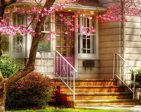 Savad Poster featuring the photograph Spring - Door - Dogwood by Mike Savad