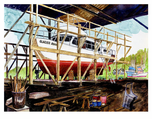 Marinas Poster featuring the painting Yacht Glacier Bear Hauled Out In Gig Harbor by Jack Pumphrey