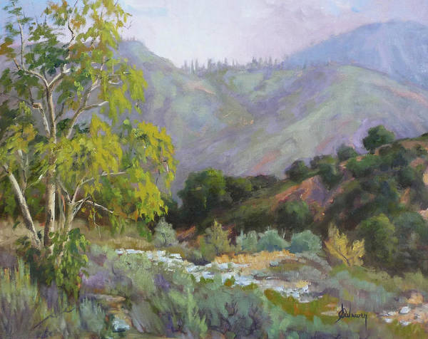 Landscape Poster featuring the painting Spring Sycamore by Sharon Weaver