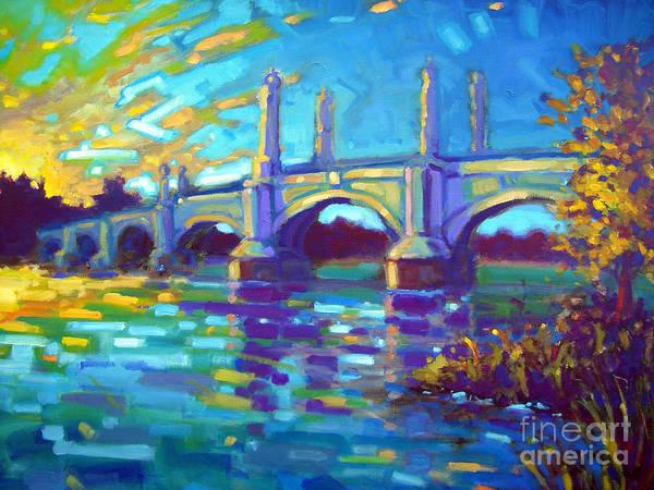 Bridges Poster featuring the painting Springfield Memorial Bridge by Caleb Colon