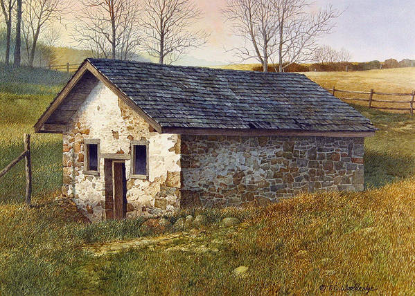 Landscape Poster featuring the painting Springhouse by Tom Wooldridge