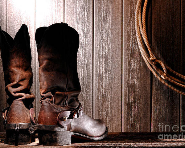 Western Poster featuring the photograph Spurs On Cowboy Boots Heels by Olivier Le Queinec