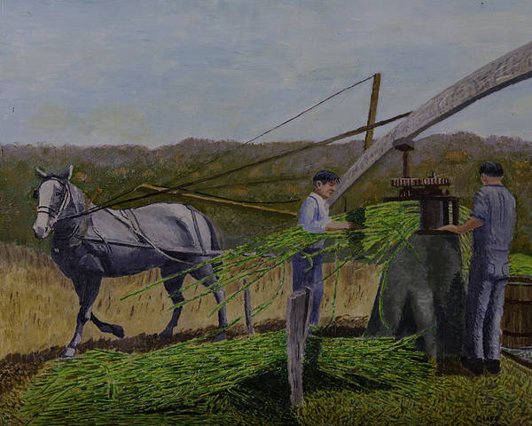 Squeezing Poster featuring the painting Squeezing Sorghum For Sugar by Clifford Cox