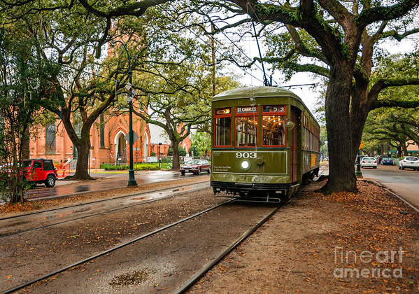 Garden District Poster featuring the photograph St. Charles Ave. Streetcar In New Orleans by Kathleen K Parker