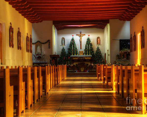 Church Poster featuring the photograph St Francis De Paula Mission Tularosa by Bob Christopher
