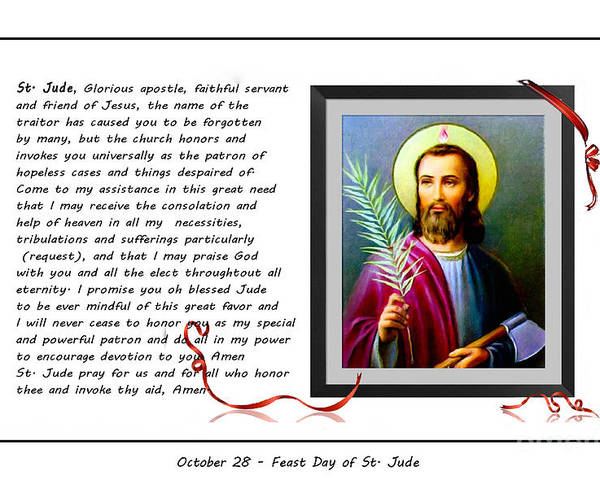 St. Jude Poster featuring the digital art St. Jude Patron Of Hopeless Cases - Prayer - Petition by Barbara Griffin
