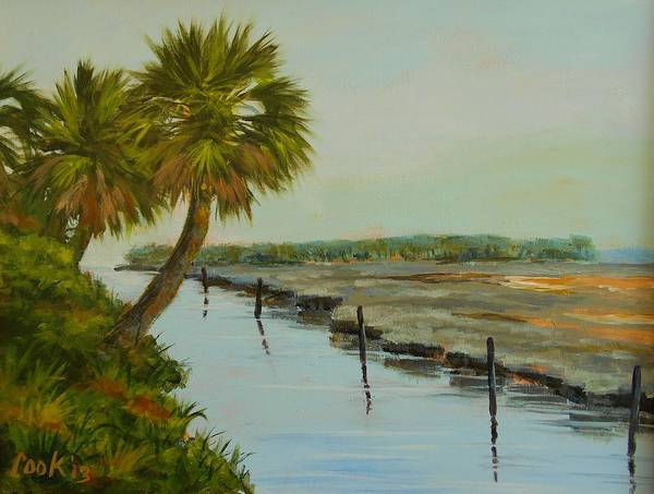 Palm Trees Poster featuring the painting St. Marks Refuge by Michael Cook