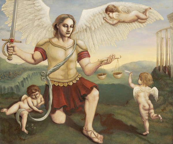 St. Michael The Archangel Poster featuring the painting St. Michael The Archangel by Shelley Irish