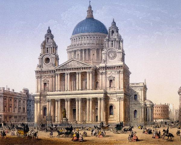 St Paul's Cathedral Poster featuring the drawing St Pauls Cathedral by Achille-Louis Martinet