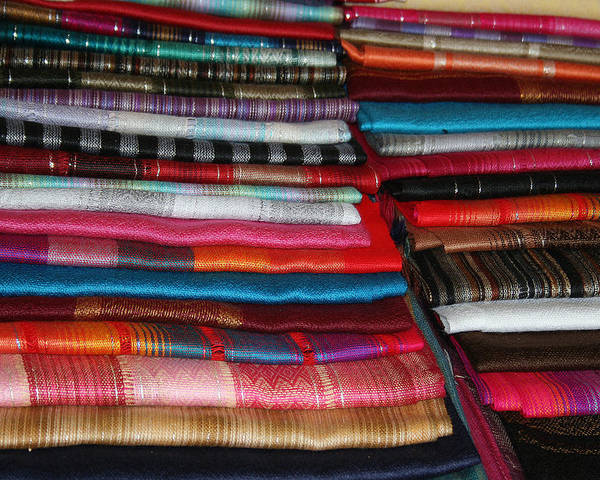Abstract Poster featuring the photograph Stacks Of Colorful Shawls by Robert Hamm