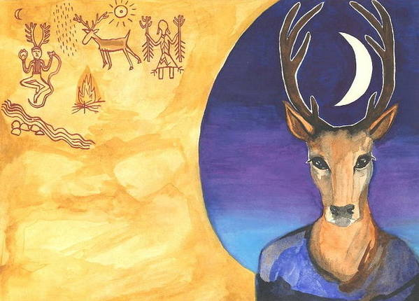 Cat Athena Louise Paintings Poster featuring the painting Stag Dreamer by Cat Athena Louise
