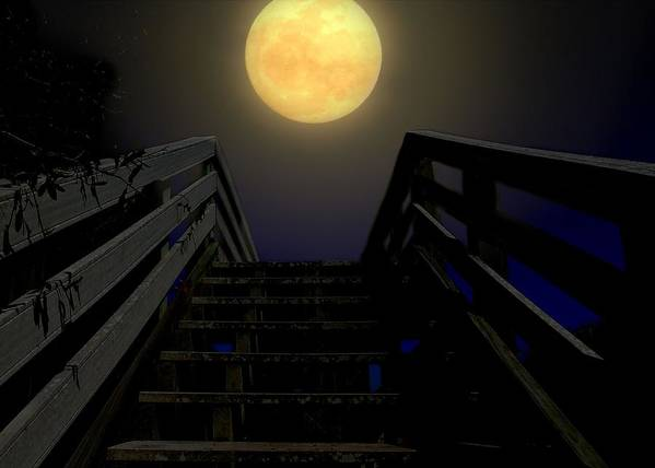 Moon Poster featuring the photograph Stairway To Heaven by Laura Ragland