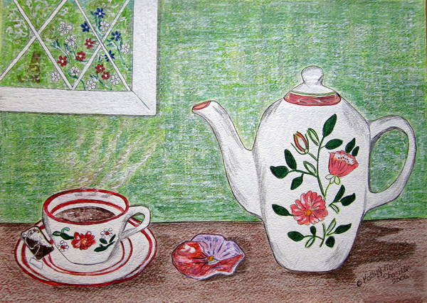 Stangl Pottery Poster featuring the painting Stangl Pottery Rose Pattern by Kathy Marrs Chandler