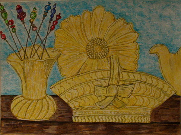 Stangl Pottery Poster featuring the painting Stangl Pottery Satin Yellow Pattern And Vintage Hat Pins by Kathy Marrs Chandler