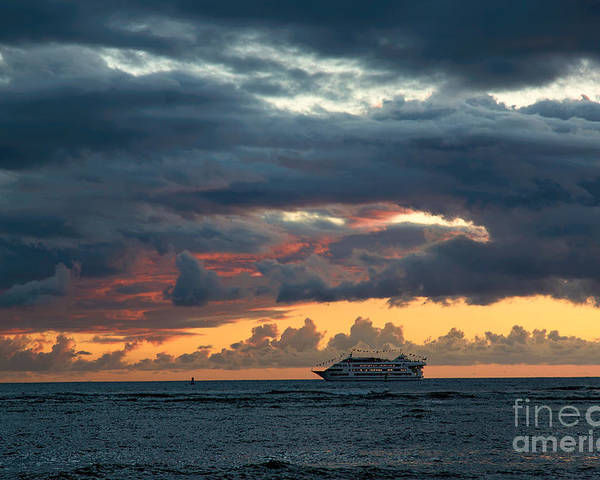 Sunset Poster featuring the photograph Star Of Honolulu by Jon Burch Photography