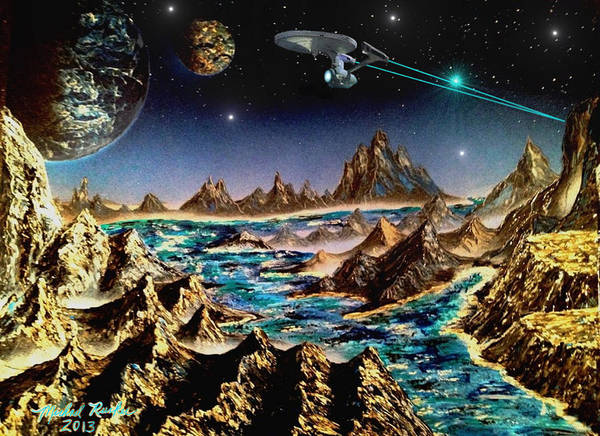 Star Trek Poster featuring the painting Star Trek - Orbiting Planet by Michael Rucker