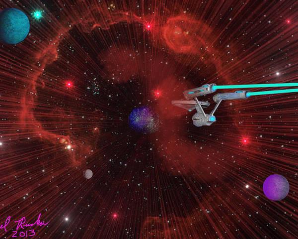 Star Trek Poster featuring the digital art Star Trek - Punch It by Michael Rucker