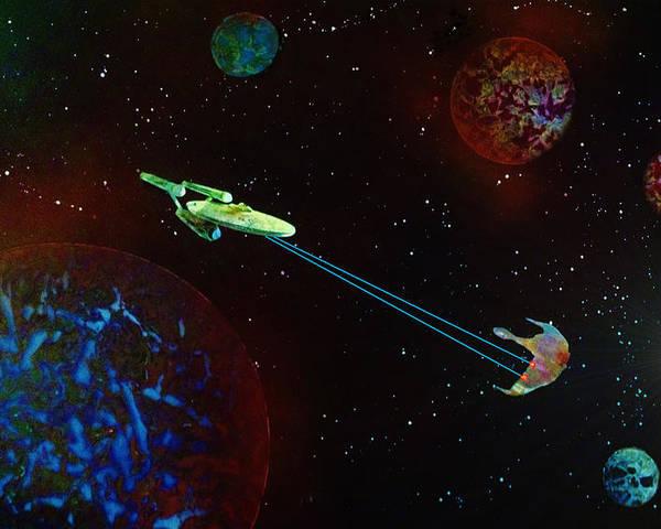Star Trek Poster featuring the painting Star Trek -uss Enterprise by Michael Rucker