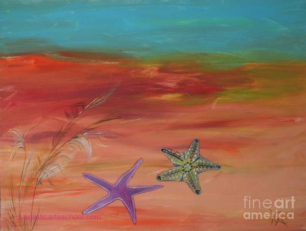Starfish Poster featuring the painting Starfish by PainterArtist FIN