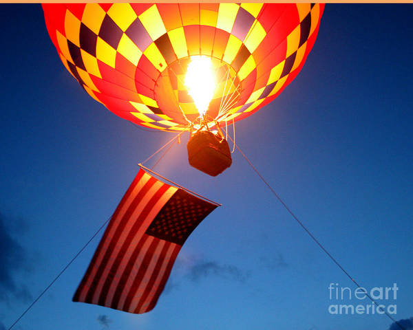 Hot Air Balloons Poster featuring the photograph Stars And Stripes Glow by Paul Anderson