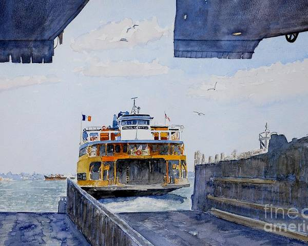 Boat Poster featuring the painting Staten Island Ferry Docking by Anthony Butera