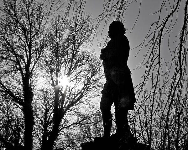 Statue Dusk Dark Silhouet Black While Trees Philadelphia Japanese Gardens Fairmount Park Poster featuring the photograph Statue At Dusk by Alice Gipson
