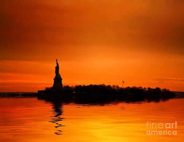 New York Skyline Poster featuring the photograph Statue Of Liberty At Sunset by John Farnan