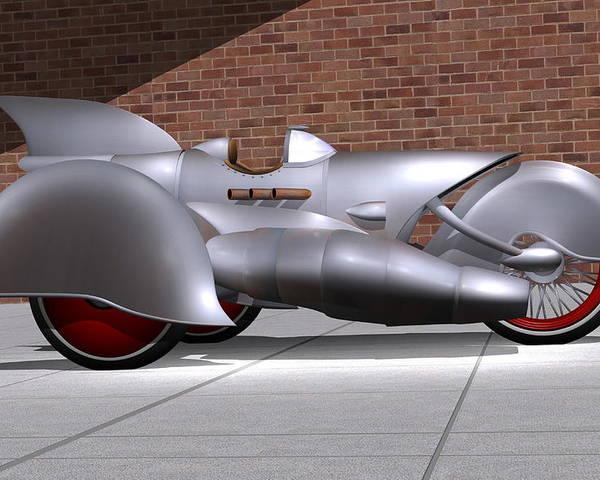 Motorcycle Poster featuring the digital art Steam Turbine Trike by Stuart Swartz