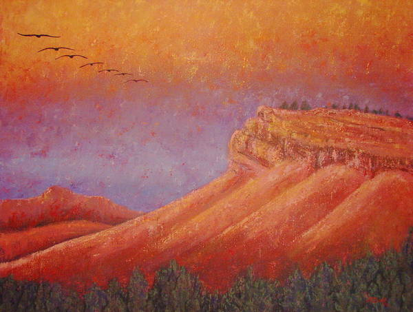 Steamboat Mountain Poster featuring the painting Steamboat Mountain at Sunrise by Margaret Bobb