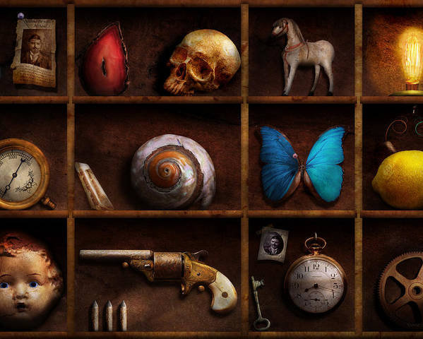 Steampunk Poster featuring the photograph Steampunk - A Box Of Curiosities by Mike Savad