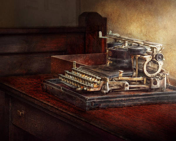 Steampunk Poster featuring the photograph Steampunk - A Crusty Old Typewriter by Mike Savad