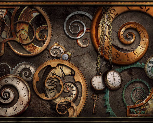 Steampunk Poster featuring the photograph Steampunk - Abstract - Time Is Complicated by Mike Savad