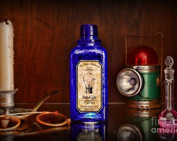 Paul Ward Poster featuring the photograph Steampunk Bottled Light by Paul Ward
