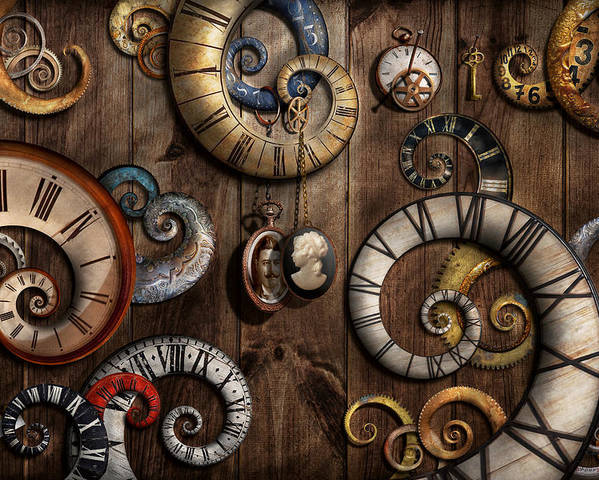 Savad Poster featuring the photograph Steampunk - Clock - Time Machine by Mike Savad